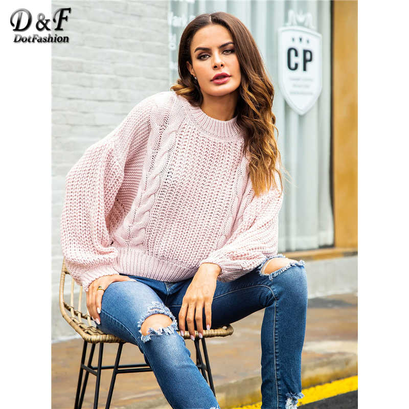 Dotfashion Pink Cut Out Back Cable Knit Crop Jumper Women Casual Autumn Clothing Fashion Long Sleeve Womens Sweaters Pullovers