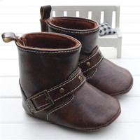 Infant Toddler Western Cowboy Boots Baby Boy Girl Chocolate Brown PU Booties Boots Shoes Velcro On