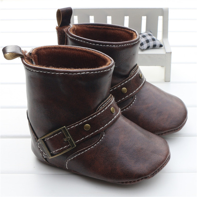 a83401e108ce Infant Toddler Western Cowboy Boots Baby Boy Girl Chocolate Brown PU  Booties Boots Shoes Hook loop On The Back Chaussure Garcon