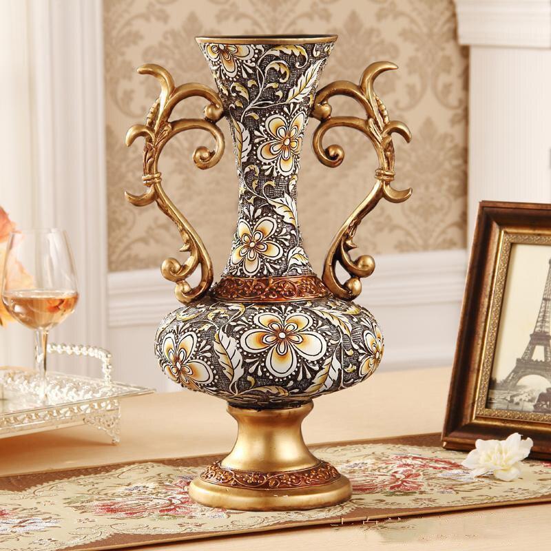 European Luxury Palace Resin Vase Crafts Figurines Home Accessories Decoration Retro Livingroom Desktop Flower Pot Ornaments