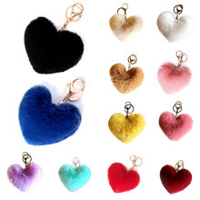 Lovely Fluffy Fur pompom Keychain Soft Heart Shape Pompon Key Chain faux Rabbit Fur Pom Poms Ball Car Kay Ring Gift(China)