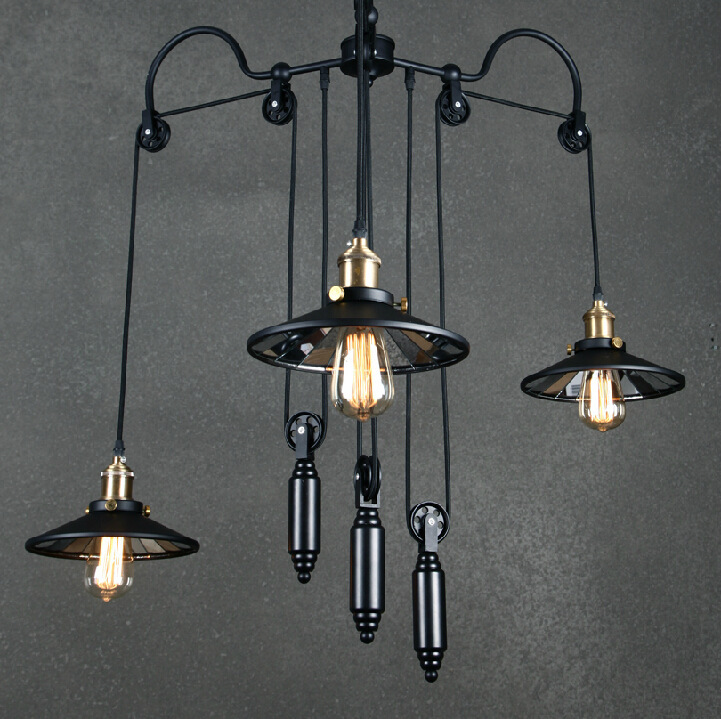Loft vintage pendant lights Iron Pulley Lamp Bar Kitchen Home Decoration E27 Edison Light Fixtures Free Shipping