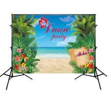 Summer Holiday Backdrops Party Banner Decoration Sea Beach and Blue Sky Forests Background Photography