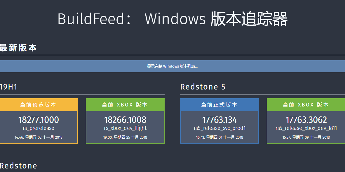 Windows 版本追踪器 BuildFeed