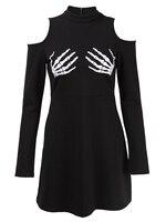 Gothic Dress Long Sleeve A line Black mini Dress Skull Embroidery Cold Shoulder Women's Autumn Dress female vintage goth Dresses