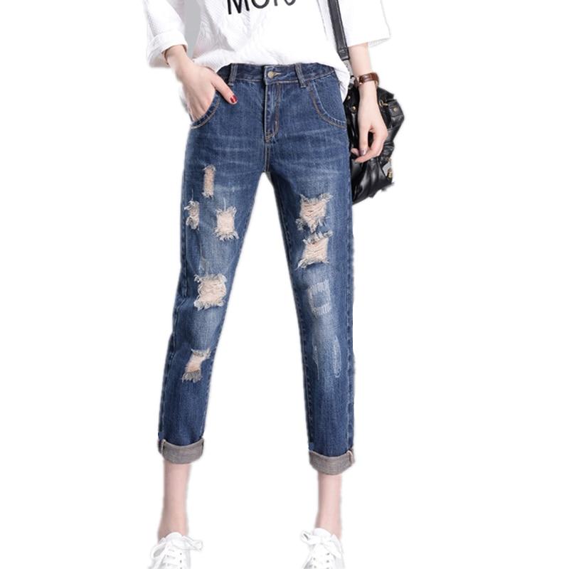 Lyl65 Denim Deep New Out Casual Blue Blue Femmes Creux Plus Femelle Lâche Printemps Taille Pantalon La 2017 light Jeans Femme Eté q8xFgSFa