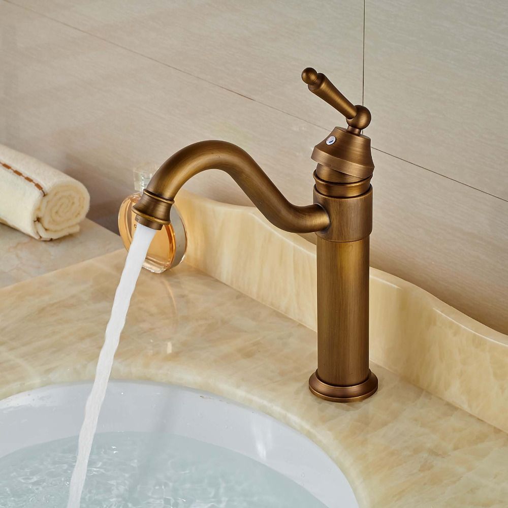 Single Lever Basin Vessel Sink Faucet Deck Mount Hot Cold Bathroom Mixer Tap Antique Brass 8471 4 single handle cold stream deck mount single handles wash basin sink vessel kitchen torneira cozinha tap mixer faucet