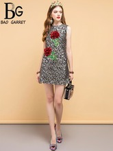 Baogarret Summer Fashion Designer Vintage Dress Womens Beading Sequined Appliques Leopard Printed Elegant Short Dresses