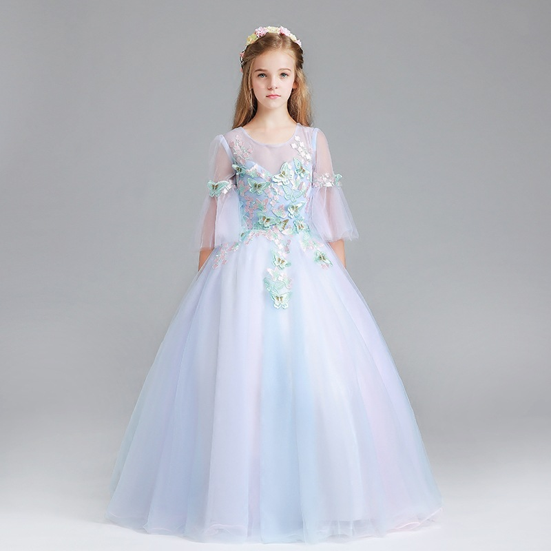 2018 Luxury Princess Dress Half Sleeve Flower Girl Dress Birthday Ball Gown Girl Party Communion Dress Kids Pageant Gowns AA40 half dress roobins half dress