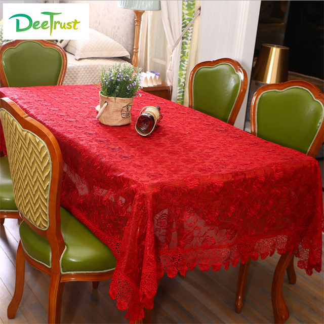 Good European Style Lace Table Cloth Red Table Cover Fabric Rustic Wedding  Decoration Cover
