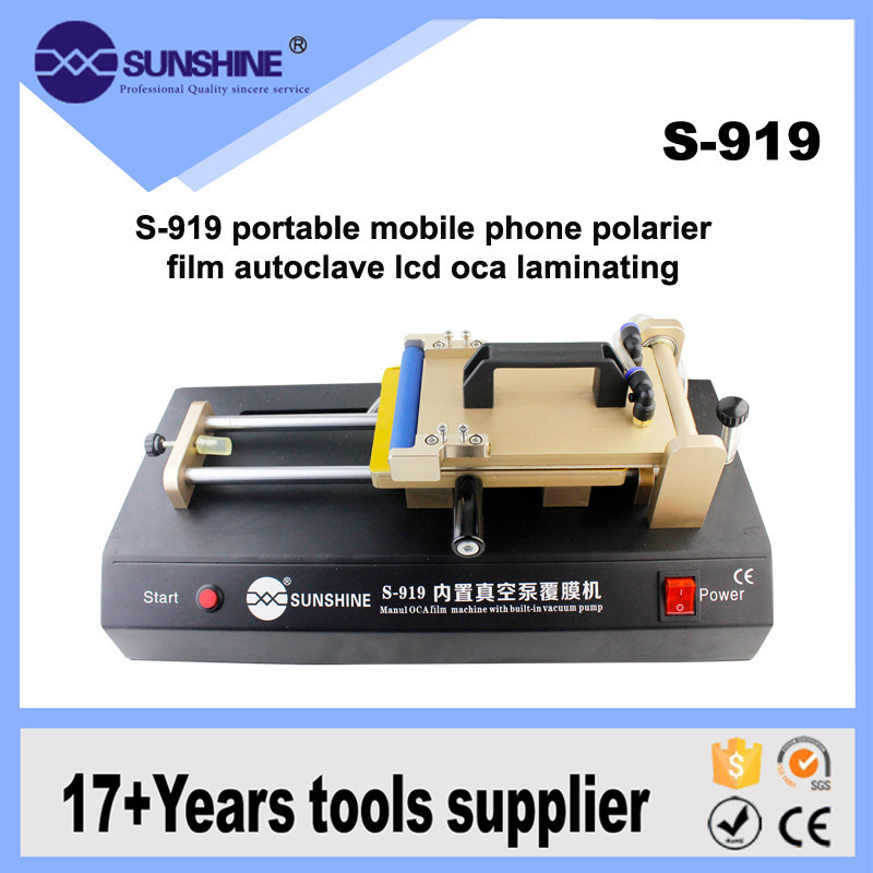 S-919 Built-in Vacuum pump OCA Film Laminating Machine for iPhone Samsung LCD Touch Screen Laminate Polarized Film Repair 3 in 1 automatic vacuum oca film laminator machine build in pump non air compressor for samsung s6 edge