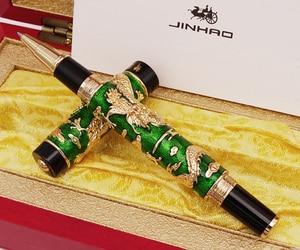 Image 2 - Luxury  Handmade Jinhao Roller Ball Pen, Green Cloisonne Double Dragon Pen Advanced Craft Writing Gift Pen for Business Graduate