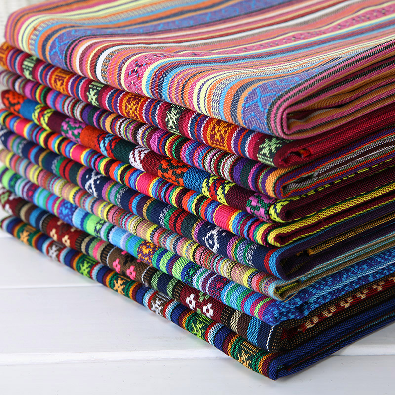 jacquard sofa textile cotton ethnic linen fabric patchwork tablecloth home decro sewing crafts material bag DIY tissue