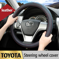 Leather Car Styling Steering Wheel Cover For Toyota Corolla Avensis Yaris Rav4 Hilux Prius Auris 2013 2014 2015 Auto accessories