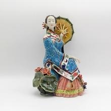 Chinese Sculpture Manual Glazed Ceramic Figurine Ornaments Classical Ladies Figure Artificial Crafts Handicrafts