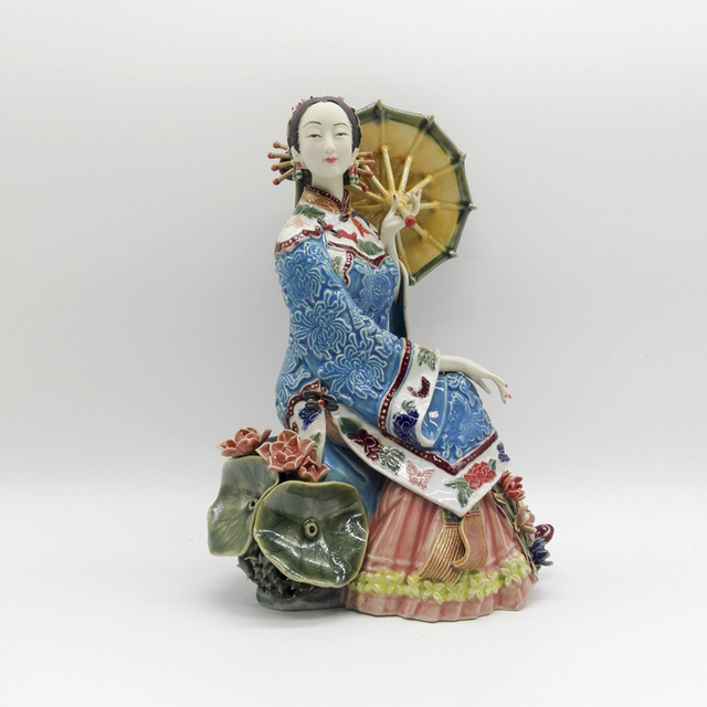 Painted Glazed Pottery Hogar Chinese Manual Ceramic Porcelain Figurine Ornament Ladies Figure Art Collectible Craft Home Decor