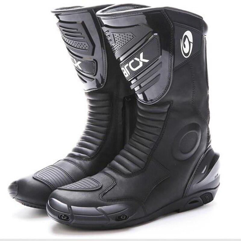 Moto Bottes imperméables En Cuir Véritable Moto Motocross Racing Bottes Protector Vitesse Moteur Bike wear Chaussures Réfléchissantes