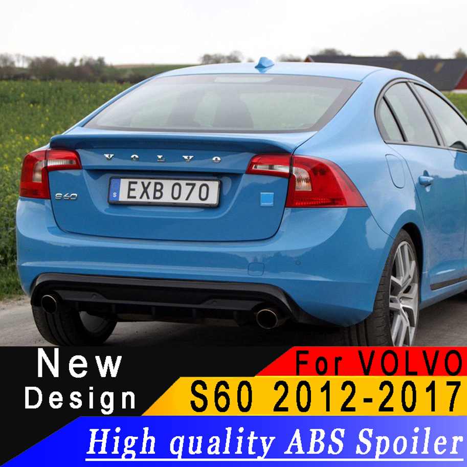 For Volvo S60 2012-2017 ABS material spoiler High quality any color or primer car rear wing car landscaping decorative spoilerFor Volvo S60 2012-2017 ABS material spoiler High quality any color or primer car rear wing car landscaping decorative spoiler