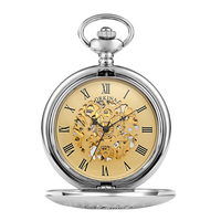 2018 Vintage Silver Pocket Watch Men Women Necklace Clock Metal Stainless Steel Watches Pendant with Chain Gifts