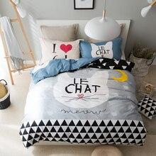 Grey cat print duvet cover set  100% cotton 3/4pcs twin queen multi-size bedding set for children,love cat bed sheet/pillowcase