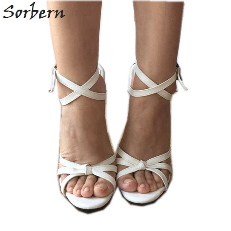 Sorbern Sexy White Slingbacks Sandals Women Cross Tied Shoes Spike High Heels Trendy Shoes Size 12 Shoes Stilettos Sandals