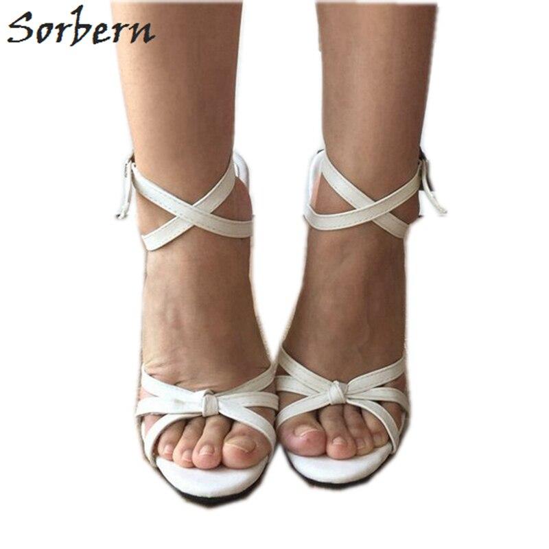 Sorbern Sexy blanco Slingbacks sandalias mujeres Cruz atado zapatos pico tacones de moda Zapatos tamaño 12 zapatos Stilettos sandalias