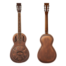 Aiersi Brand Brozen Vintage Bell Brass Metal Parlour Resonator Guitar Free Case and strap