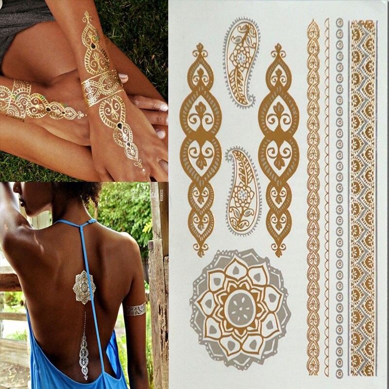 Hot Temporary tattoo Gold tattoo Flash Tattoos Metallic Sex Products jewelry Butterfly India flowers Body art tatto stickers