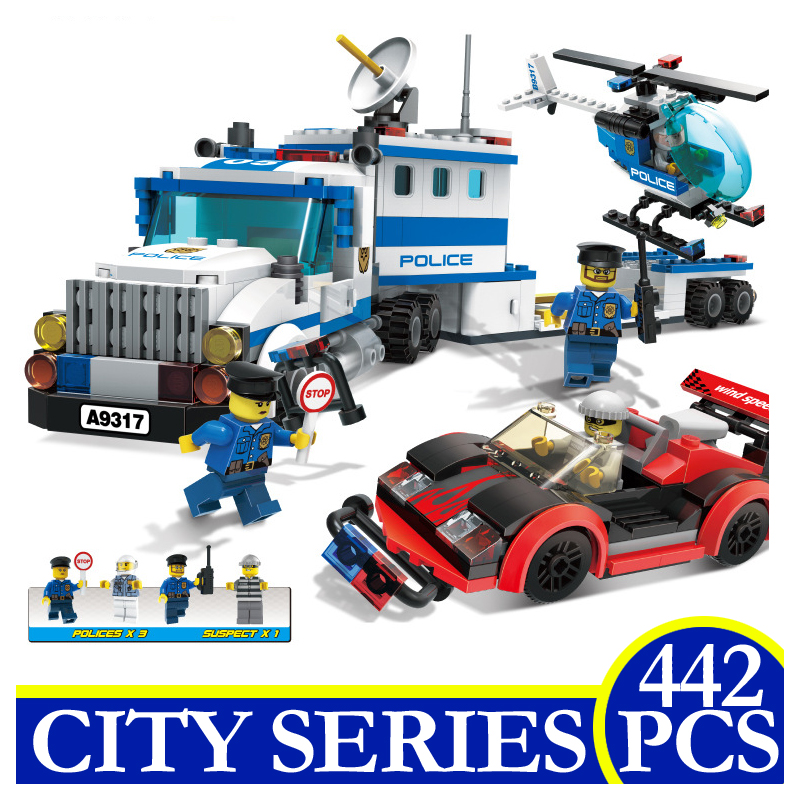 9317 442pcs City Series Police Station Helicopter Model Building Blocks Bricks Educational Children Gifts Compatible LEPIN city series helicopter surveillance building blocks policeman models toys children boy gifts compatible with legoeinglys 26017