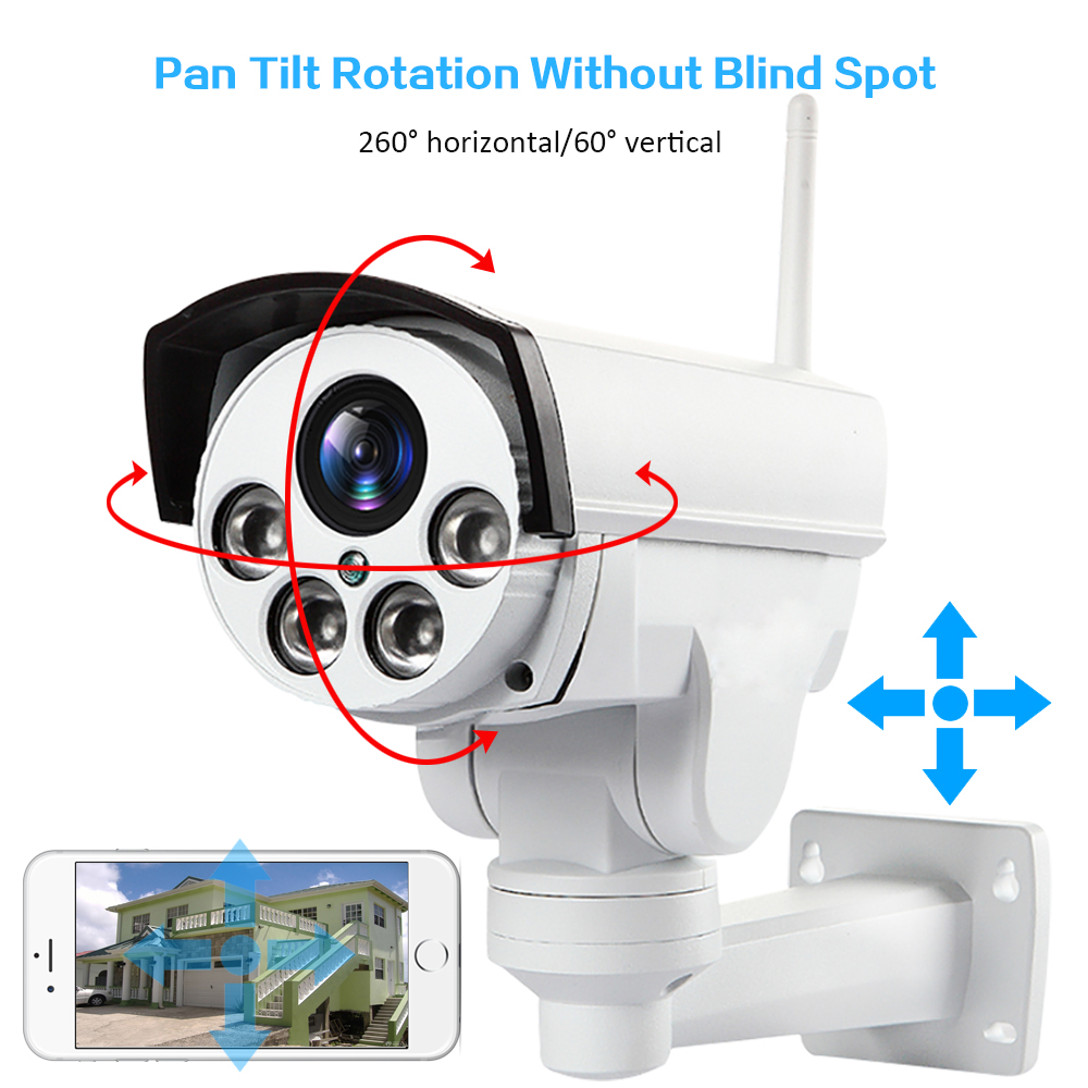 HD1080P Wi-Fi 3 г 4 г SIM PTZ 5X зум Водонепроницаемая камера Поддержка Max 128 г ночного видения 50 м p2p наружного видеонаблюдения камеры