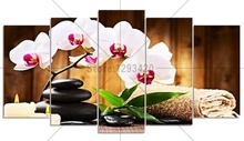 New DIY diamond painting Full drill square Orchid & stone 5pcs 5D embroidery Cross Stitch Rhinestones wall decor