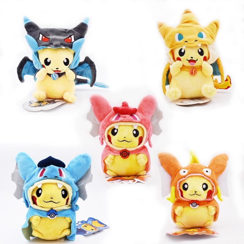 7Styles 20cm Kinds Option Baby Plush Toys Pikachu Cosplay Mega Charizard Gyrados Stuffed Animal Dolls Children Toys Kids As Gift