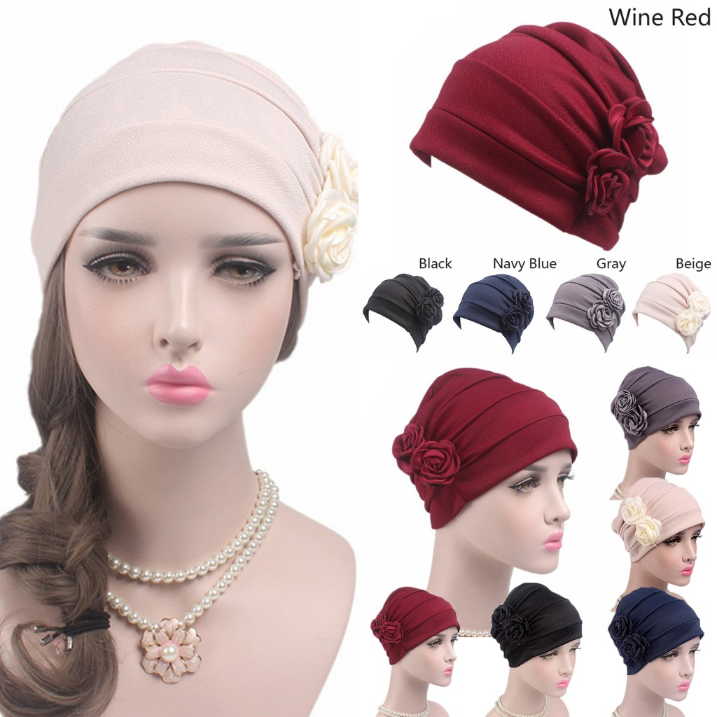 1PC Soft Hat Women Winter Warm Casual Floral Rose Slouchy Hat Crochet Ski Beanie Hat Female Skullies Beanies Lady Turban 5 Color