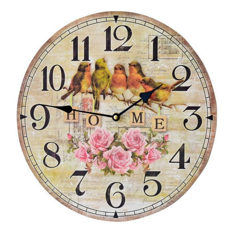 Dia35cm Fashion Vintage Round Wooden Wall Clock Wall Decor Antique Wooden Handmake Wall Hanging Clock Living Room Watch