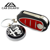 High Quality Metal Decorations For Alfa Romeo 159 3D Car alfa romeo Keychain Men's key pendant best gift black