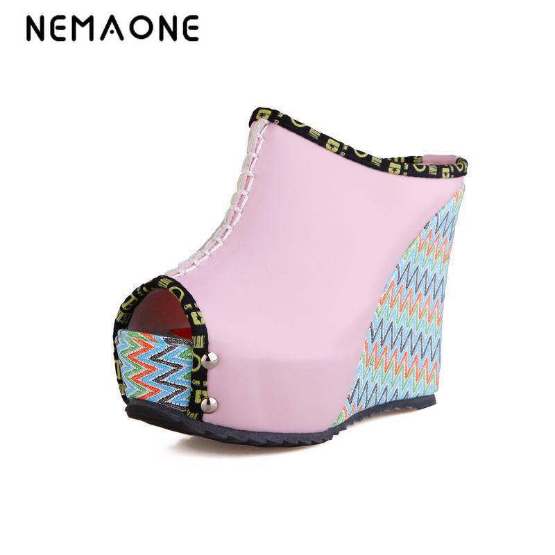 NEMAONE New Summer Wedges Slippers Platform High Heels Shoes women Sandals large size 34-43 sgesvier european style ankle strap women summer shoes wedges high heels sandals platform causel shoes plus size 34 43 vv431