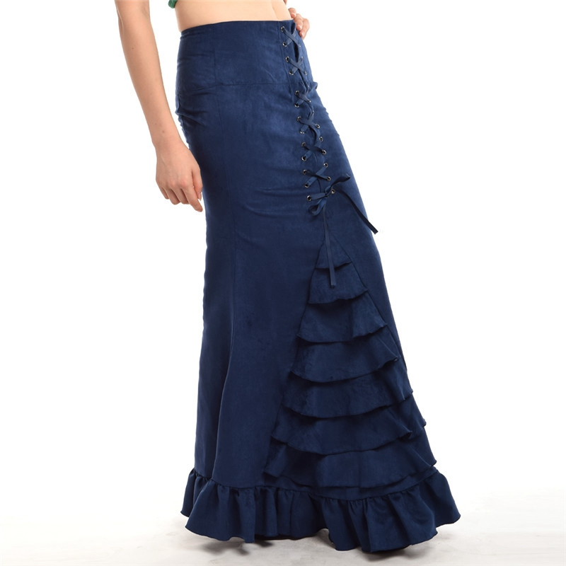 Qadın Mermaid Etek Vintage Victoria Slim Maxi Uzun Krujeva Fishtail - Qadın geyimi - Fotoqrafiya 6