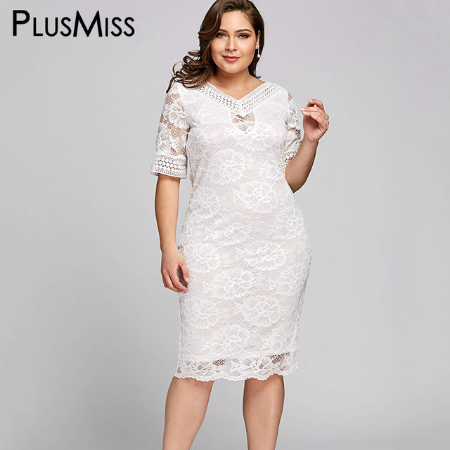 Plusmiss Plus Size 5xl White Lace Crochet Midi Dress Women Clothing