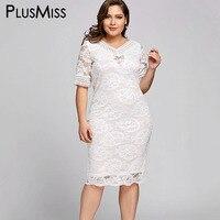 PlusMiss Plus Size 5XL White Lace Crochet Midi Dress Women Clothing Big Size Elegant Evening Party