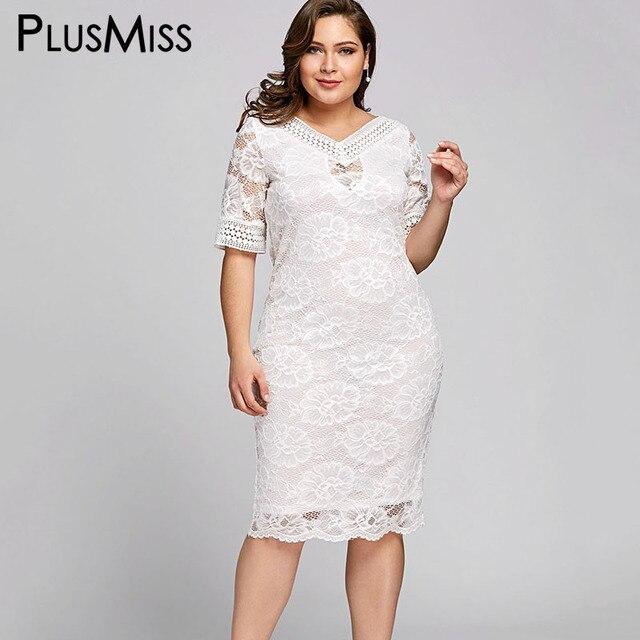 Plusmiss плюс Размеры 5xl белый Кружево крючком платье миди Женская одежда большой Размеры элегантный Вечеринка Платья для женщин роковой летнее