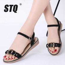 STQ 2019 Summer women sandals black gold flat Sandals women rubber beach flip flops ladies flat heel gladiator sandals 5911(China)