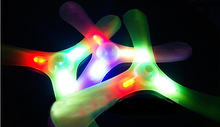 New Hot Relaxing and Exciting Frisbees Boomerangs Flying Saucer Plastic Clover Spin LED Light Outdoor Fun