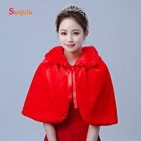 Simple Wraps for Bridal Red Wedding Capes Women Faux Fur Bolero Wedding Accessories Red Dress Shawl W52