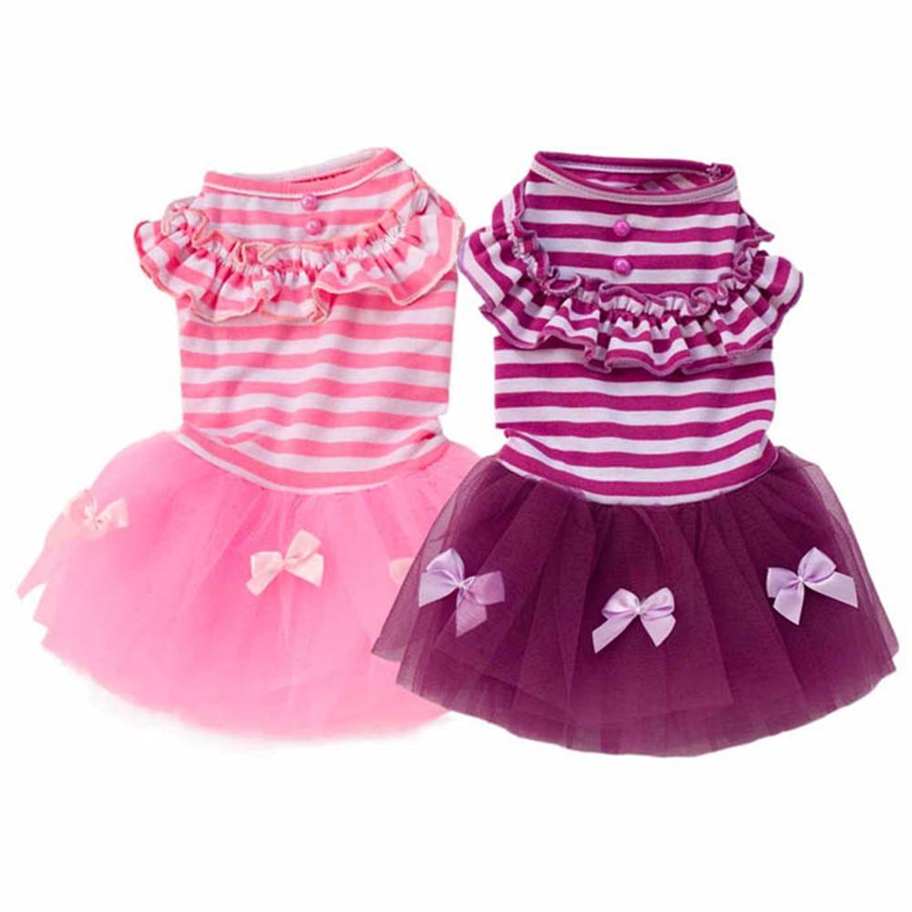 XS/S/M/L/XL Romantic Lovely Puppy Dog Princess Dress Dog Stripe Gauze Skirt Pet Dog Cotton Dress #01