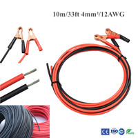 10m/33ft 4.0mm2/12AWG Crocodile Alligator Battery Clip On Plug Socket Adapter Test Cable for Car Battery Portable Air Compressor