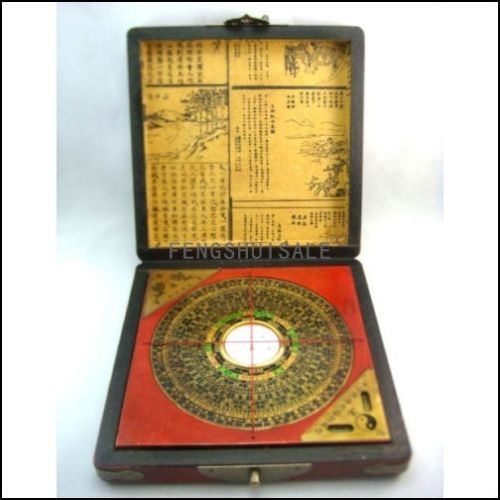 Vintage Feng shui Luo Pan Chinese Compass W Case 7 G1322
