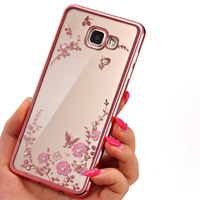 Frame Clear Case Cover For Samsung Galaxy A3 A5 A7 2017 J1 J3 J5 J7 2016 Prime G530 S6 S7 edge S8 Plus Flora Diamonds Soft Cases