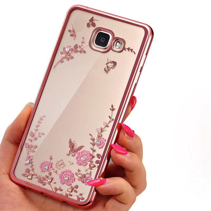 Frame Clear Case Cover For Samsung Galaxy A3 A5 A7 2016 J1 J3 J5 J7 2017 Prime G530 S6 S7 edge S8 Plus Flora Diamonds Soft Cases