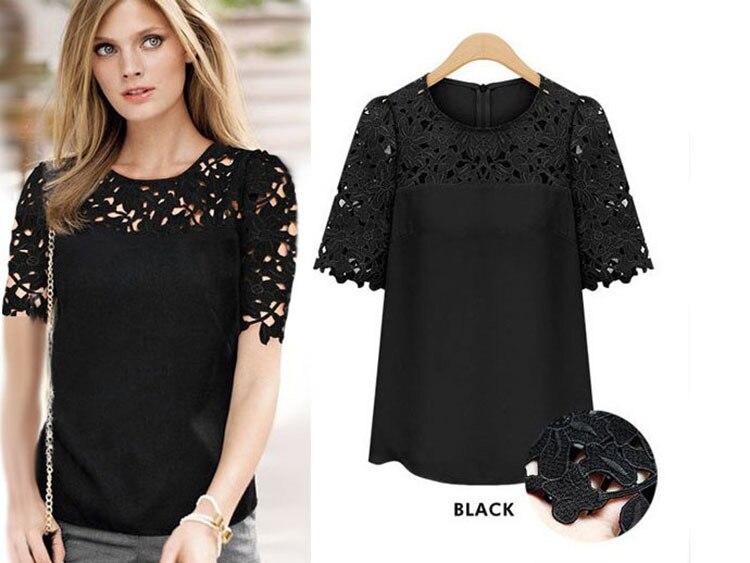 Women Lace Shirt Round Neck Blouse Shirt Summer Style