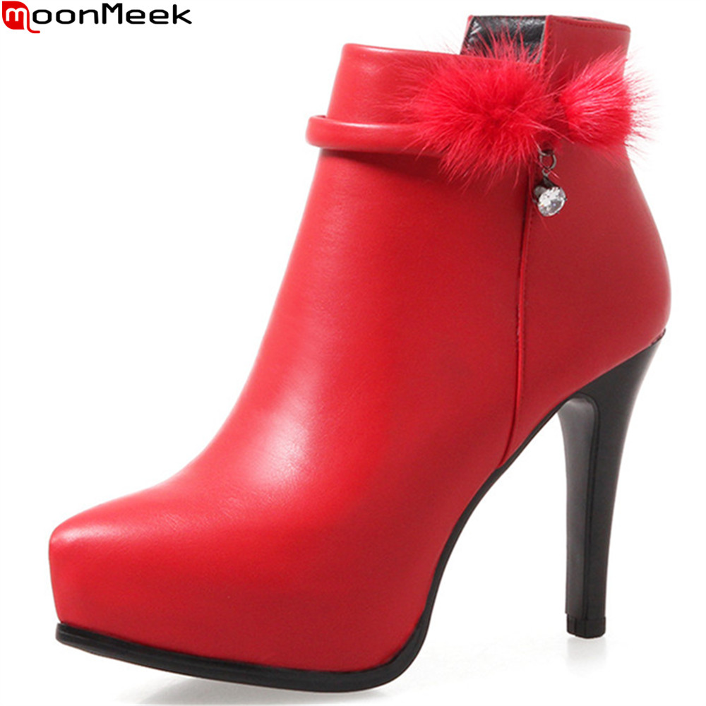 MoonMeek fashion new arrive women boots zipper pointed toe genuine leather boots black red white cow leather ankle boots winter moonmeek fashion winter new arrive women boots black red white super high ladies boots zipper buckle ankle boots platform